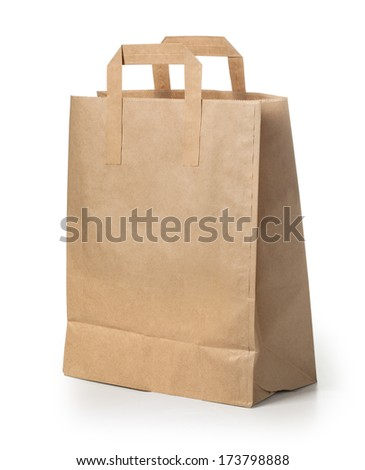 disposable paper bag close up. with clipping path - stock photo