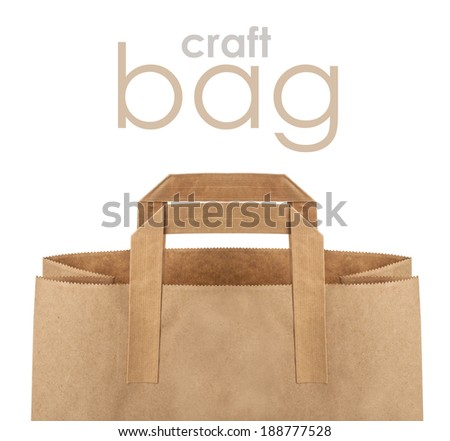 disposable paper bag close up. with copy space - stock photo