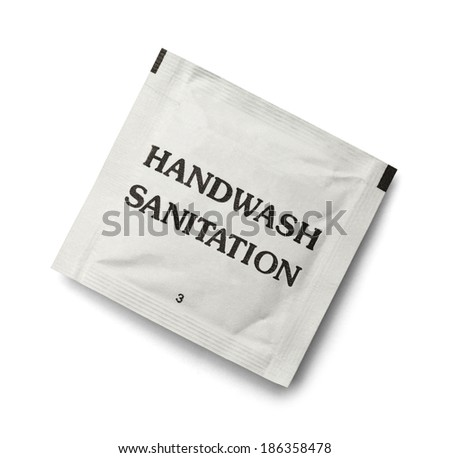 Disposable Paper Hand Cleaning Wipe Isolated on White Background. - stock photo