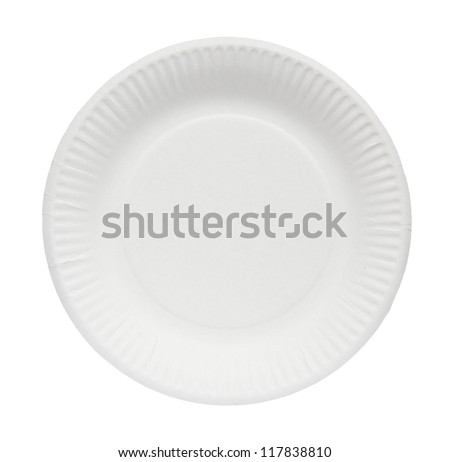 Disposable paper plate isolated on a white background. - stock photo