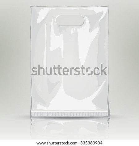 Disposable Plastic Bag. Mock up template of empty plastic container.  nylon bag illustration. Blank plastic pocket bag with place for your design and branding - stock photo