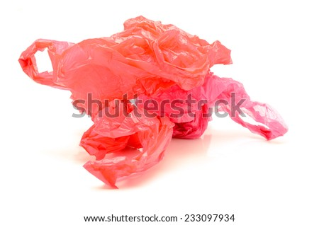 disposable plastic bags On a white background - stock photo