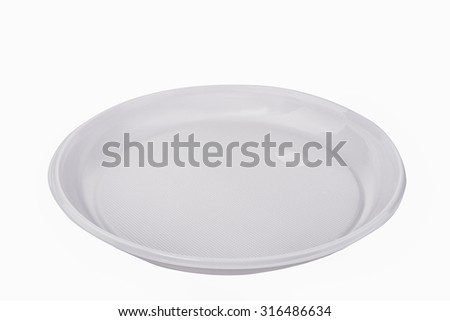 disposable plastic plate on a white background - stock photo