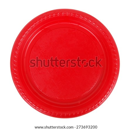 disposable red plate on white - stock photo