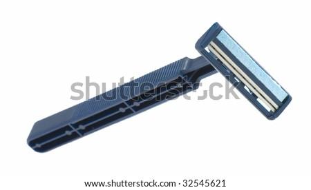 Disposable safety razor on a white background - stock photo