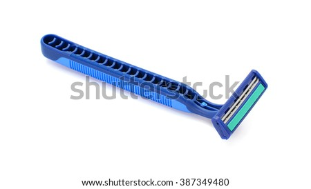 Disposable shaving razor isolated on white background - stock photo