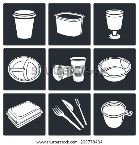 Disposable tableware Icons - stock photo