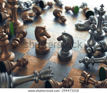 Dispute face to face in chess. - stock photo