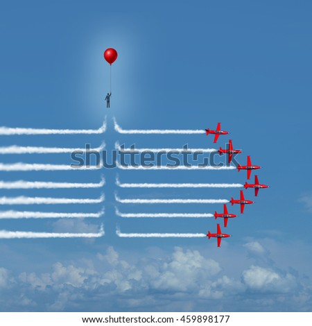 Disruptive change as an outsider person disrupting the jet airplane smoke trails with 3D illustration elements as a business innovator or innovative change maker symbol.