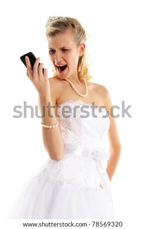 Dissatisfied bride with mobile phone isolated on white - stock photo