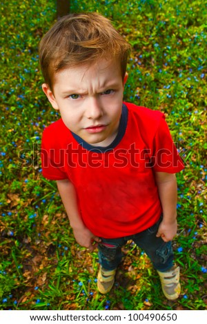 dissatisfied with evil boy hairy thug in red shirt and jeans, standing on green grass in spring - stock photo