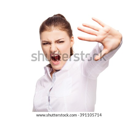 Dissatisfied woman covering the face with his hand. Young female isolated