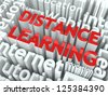 Distance Learning Concept. Inscription of Red Color Located over Text of White Color. - stock vector