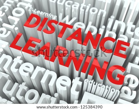 Distance Learning Concept. Inscription of Red Color Located over Text of White Color. - stock photo