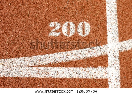 distance to 200 m. on runing track in stadium.