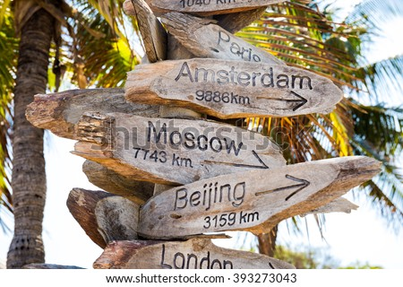 Distance to Moscow, Beijing, Amsterdam cities - wooden beach signs