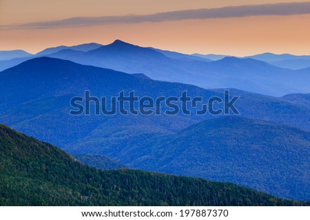 Distant mountain range in Stowe Vermont, USA - stock photo