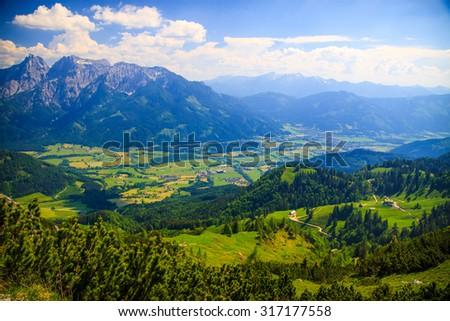 Distant mountain view, Austria, Styria - stock photo