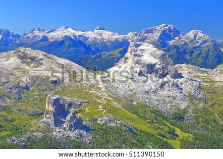 Distant mountains surrounding the rocks of Cinque Torri, Dolomite Alps, Italy