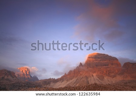 Distant mountains under the sunset light, Dolomite Alps, Italy