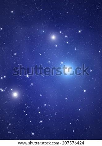 Distant nebula with stellar system. - stock photo