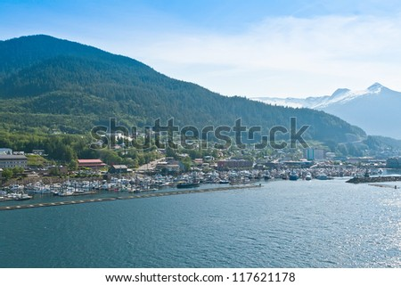 Distant scenic view of the village of Ketchikan, Alaska. - stock photo
