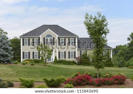 Distant shot of a lovely luxury house in Boston, Massachusetts - stock photo