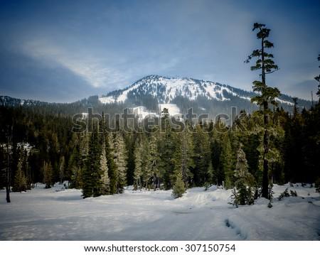 Distant ski hill is Mount Washington - stock photo