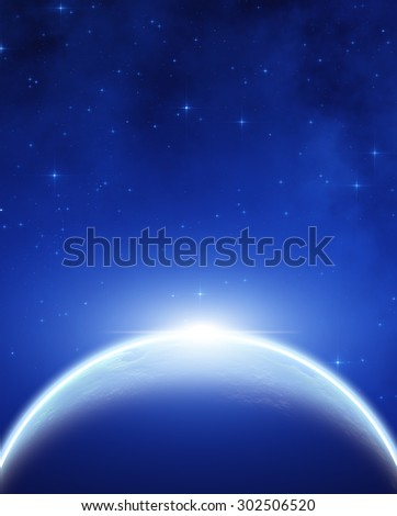 Distant stellar system. Digital illustration. No elements of NASA or other third party. - stock photo
