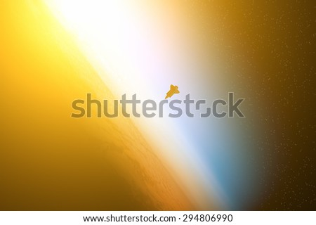 Distant stellar system. Digital illustration. Space shuttle furnished by NASA. - stock photo