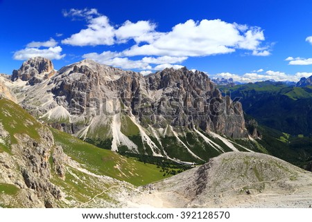 Distant summits of Catinaccio massif in sunny day of summer, Dolomite Alps, Italy - stock photo