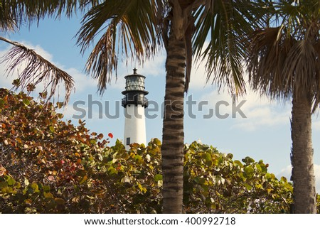 Distant view of Key Biscayne lighthouse - Florida, USA - stock photo