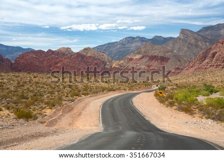 Distant view of Red Rock Canyon in Nevada. - stock photo