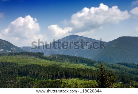Distant View of The Highest Mountain of The Czech Republic - Snizeka, 1.602 Meters Above Sea Level - stock photo