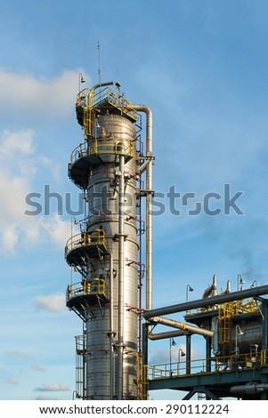 Distillation Column and its process equipments : Oil and gas refinery plant - stock photo
