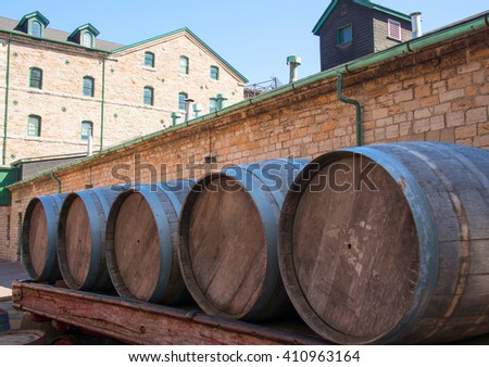 Distillery district: Vintage wooden barrel used to transport and age the whiskey. The location is a heritage site and major tourist landmark.