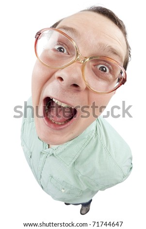 Distorted image of a careless nerd laghing with opened mouth. Fish-eye lens used. Studio shot. Isolate on pure white background. - stock photo