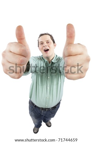 Distorted image of a cheerful young male gesturing OK sign with both hands. Fish-eye lens used, focus is on the face. Studio shot. Isolated on pure white background - stock photo