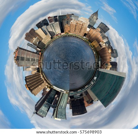 Distortion of the Manhattan, USA skyscraper panorama  into the little planet concept