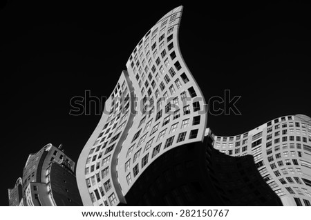 Distortioned facade on black and white