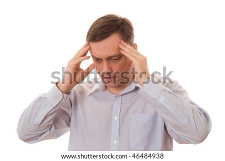 distraught man standing on a white background - stock photo