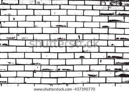Distress Brick Wall Overlay Texture For Your Design. - stock photo