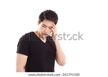 distressed, stressful man thinking, suffering from headache - stock photo