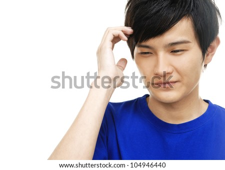 distressed unhappy young man - stock photo