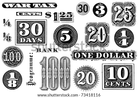 Distressed, vintage black and white graphic elements from 1870 through 1920.  Numbers and words, isolated on white.