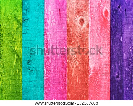 Distressed Vintage Grunge Wood Texture Background Design Color Trend, Palette, Orange, Green, Melon, Coral, Blue, Pink - stock photo