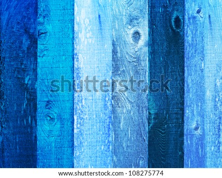 Distressed Vintage Robins Egg, Navy & Baby Boy Blue Grunge Wood Grain Texture Background - stock photo