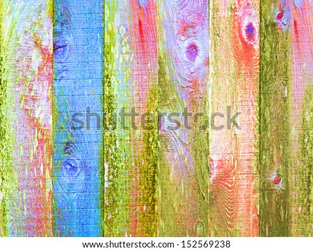 Distressed Wood Texture Background With Moss, Grunge Art Design Element Painted Multicolor Psychedelic Blue, Green, Pink Pastel Color Pallet   - stock photo