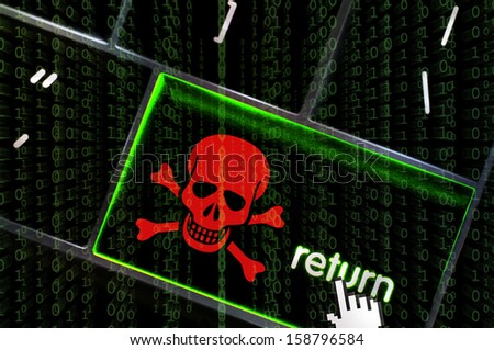 Distributed Denial of service concept with the focus on the return button overlaid with binary code - stock photo