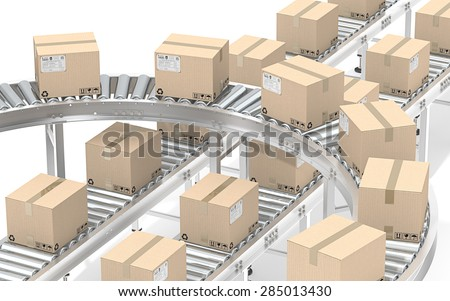 Distribution. Industrial Roller Conveyor with cardboard Boxes. All steel, brown cardboard with shipping labels.